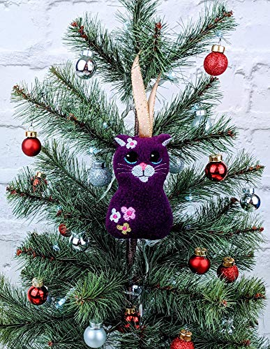 Handmade Purple Cat Christmas Tree Decoration/Christmas Ornament/Tree Topper with machine embroidered face and flowers ()