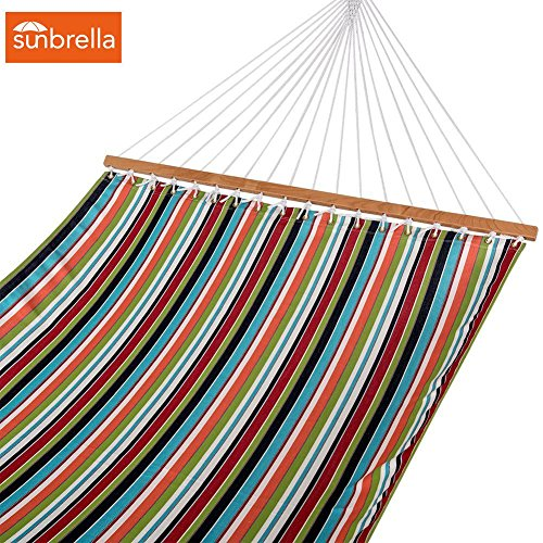 All weather Sunbrella Hammocks with spread bar for two person 450 Lbs capacity by Lazy Daze Hammocks, Carousel Condetti