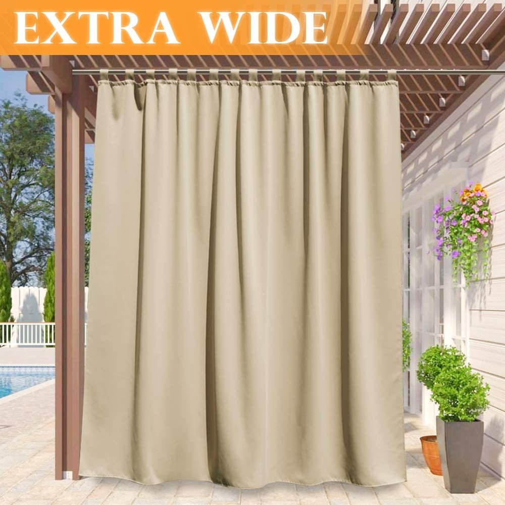 RYB HOME Wide Outdoor Curtains - Heat & Light Block Out Stain Proof Patio Curtain Outdoor Outside Décor Privacy for Pavilion Porch Backyard, 100-inch Wide x 84-inch Long, Cream Beige