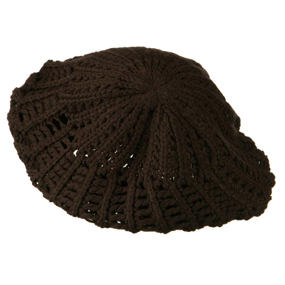 Brown W09S63B Hatiya Crocheted Knit Beret