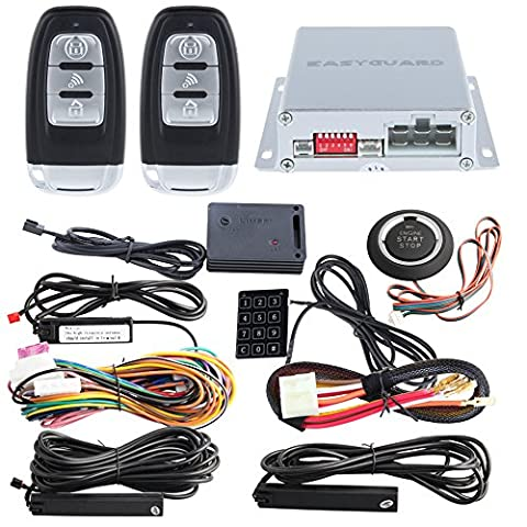 EASYGUARD EC002-NS PKE Passive Keyless Entry Car Alarm System Remote Start Starter Push Start Stop Button Touch Password Entry Shock sensor (Push Button Car Starter)