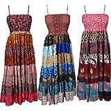 Gypsy Frolic Womens Boho Maxi Dress Recycled Vintage Silk Patchwork Sundress Wholesale Lot Of 3 Pcs