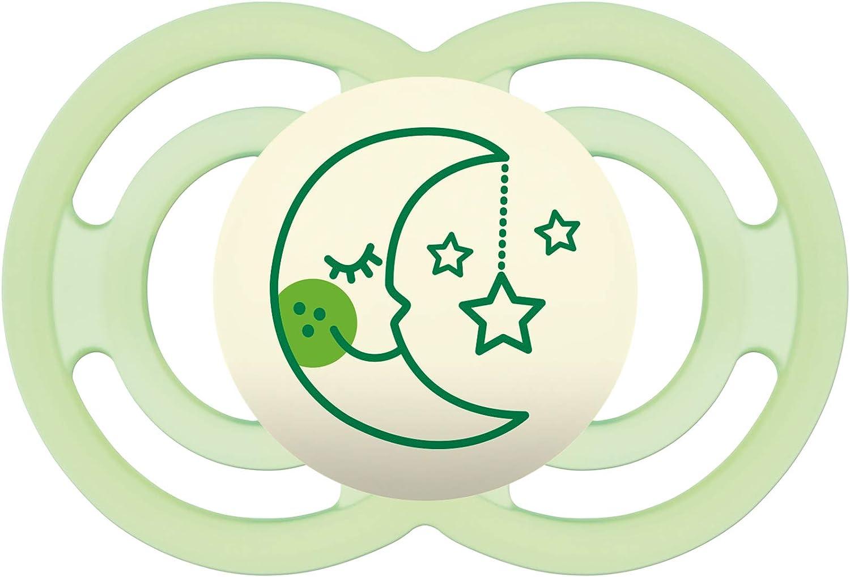 MAM Perfect Night 6+, Chupete nocturno que brilla en la oscuridad, chupete ortodóntico para unos dientes sanos, chupete de silicona autoesterilizable, 6+ meses, verde: Amazon.es: Bebé
