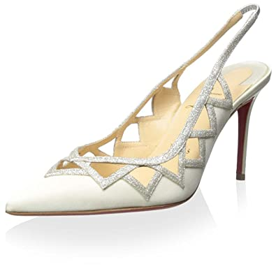 c76387060148 ... where can i buy christian louboutin womens stellare crepe satin glitter  mini pump ivory 37 m