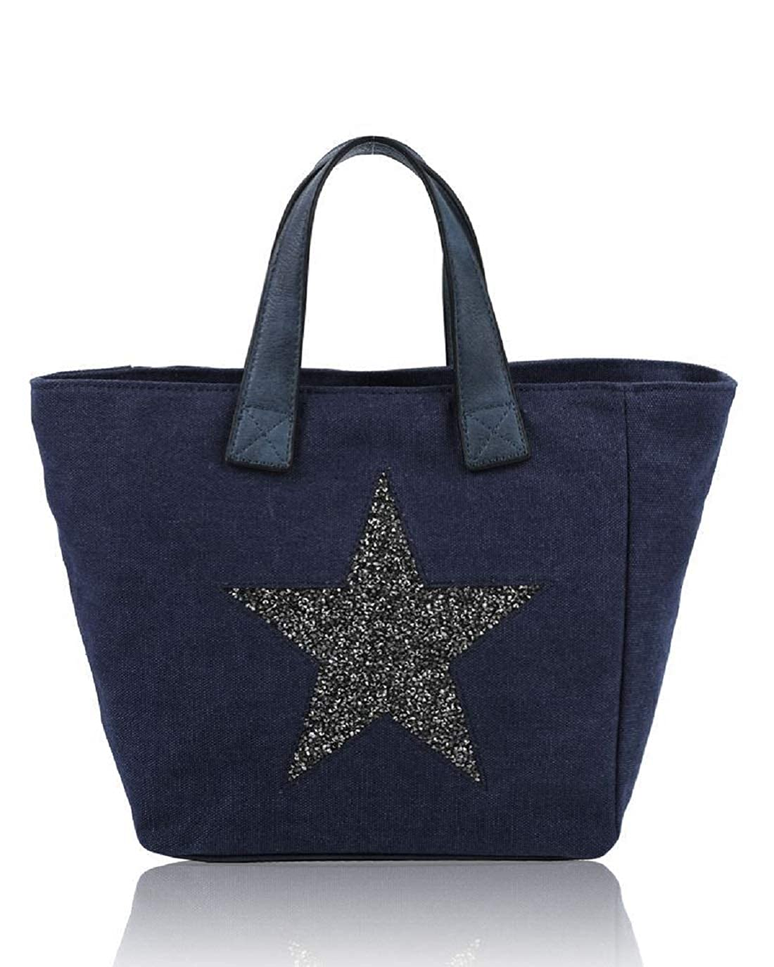 Navy Womens Ladies Canvas Tote Handbag Glitter Star Pattern Party Shoulder Bag