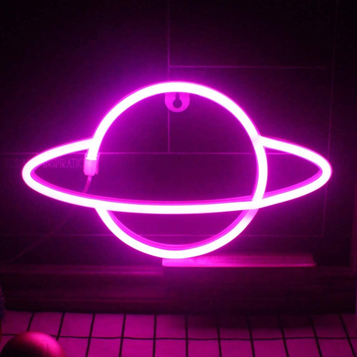 QiaoFei Led Planet Neon Signs Pink Kids Neon Lights Decorative Wall Signs, Battery or USB Operated Lamp for Party Supplies Room Wall Art Decoration (Pink)