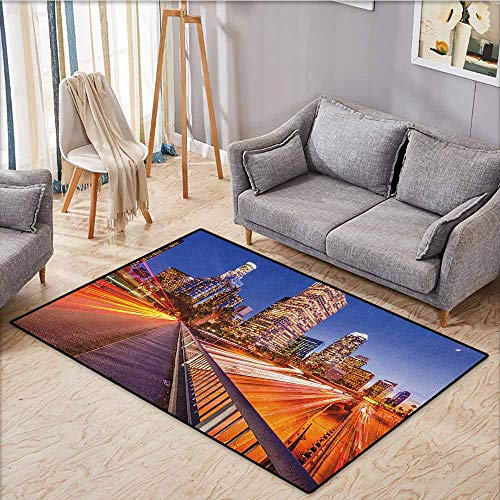 Kids Rug,Night,USA Downtown City Skyline Over The Highway Los Angeles California Travel Destination,Ideal Gift for Children,5'3