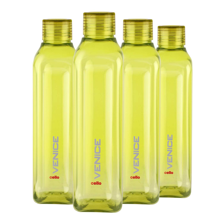 Cello Venice Exclusive Edition Plastic Water Bottle Set, 1 Litre, Set of 4