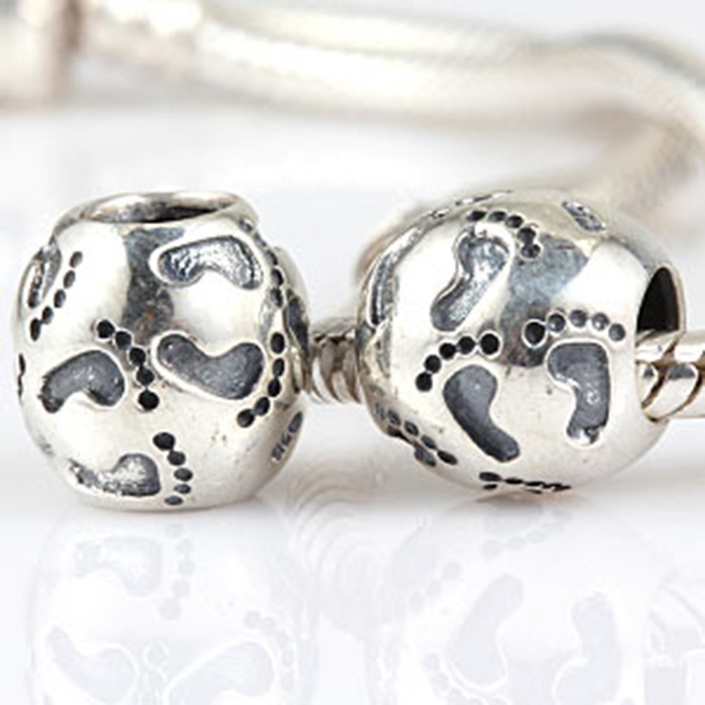 A First Step Charm 925 Sterling Silver Footprint Charm Family Charm Love My Baby Charm for Pandoar Bracelet