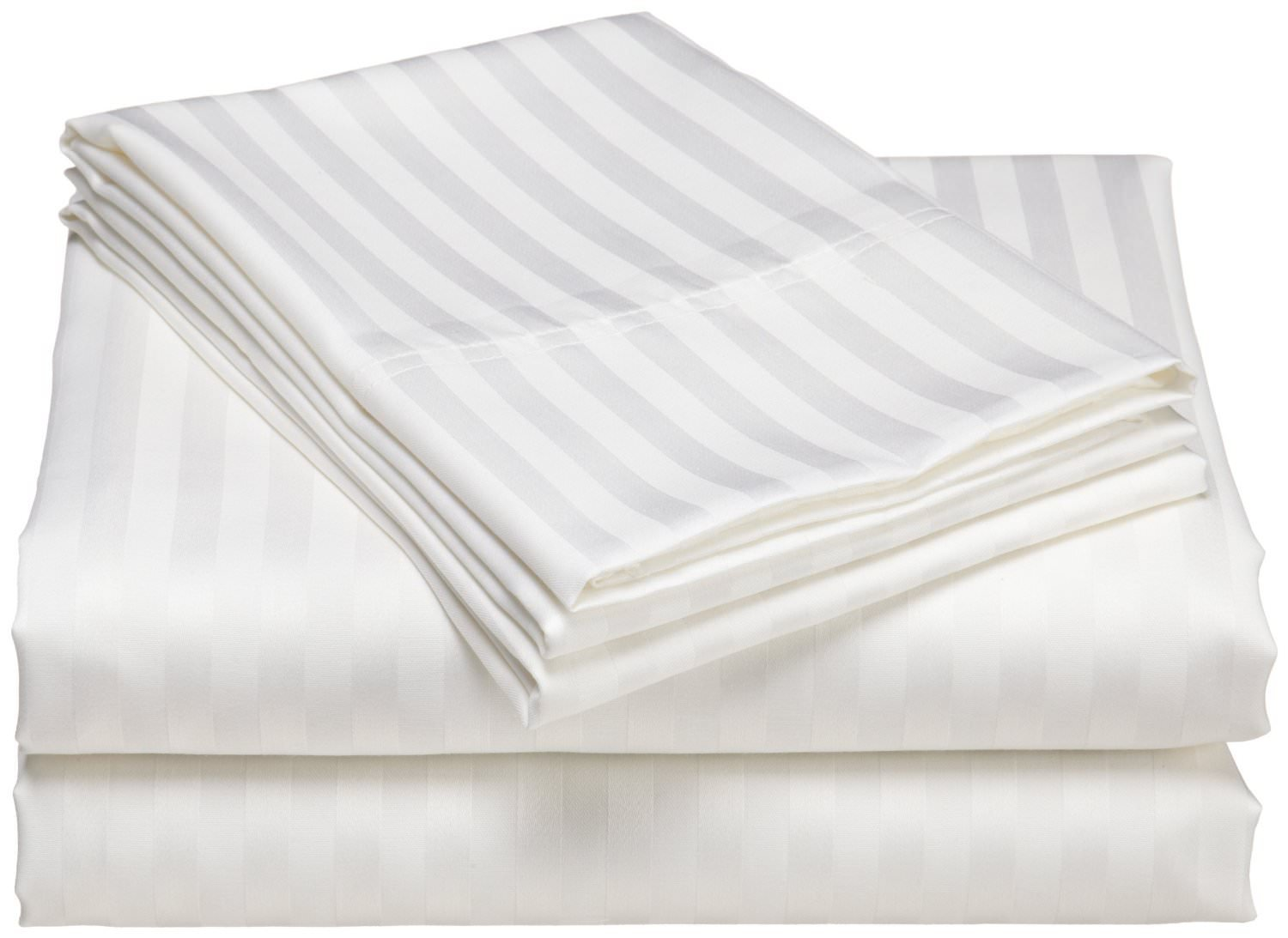 Egyptian Cotton King Sheet Set (78X80) 15'' Deep Pocket 600 Thread Count White Stripe # Exotic Bedding Collection