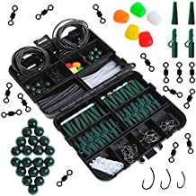 Dr.fish Carp Fishing Tackle Pocket Flip Box with 237 Pieces Rigs Lead Clips Hooks Swivel Corn Tube Beads Accessories Joblot