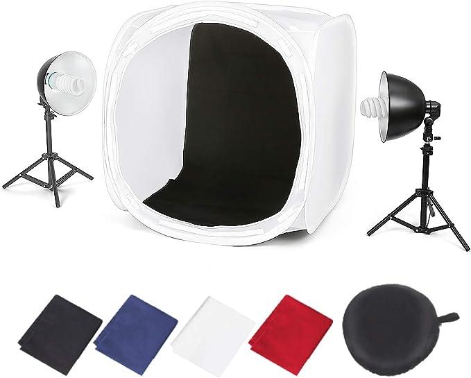 Amzdeal Caja de Luz Portátil Kit 80 * 80cm con 2 Lámparas Fotográfica de 135W en Pie y 4 Fondos (Negro/Blanco/Azul/Rojo) para Estudio Fotográfica: Amazon.es: Electrónica