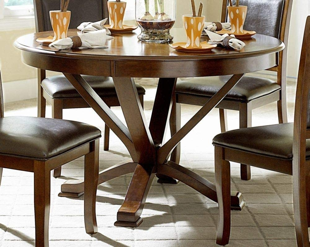Benzara Wooden Round Dining Table, Brown, One Size,
