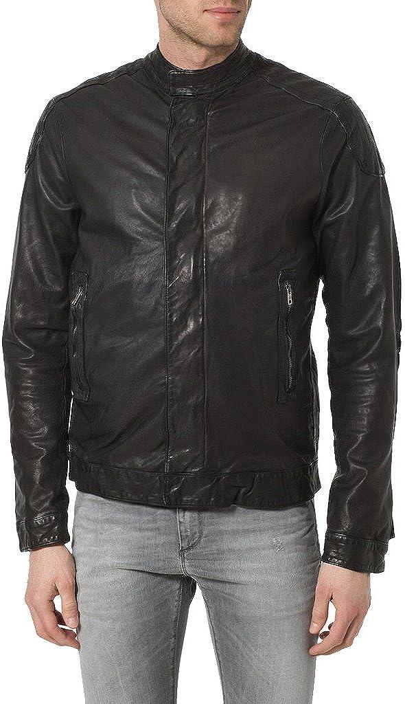 New Men Genuine Sheep Leather Slim Fit Biker Jacket LF355