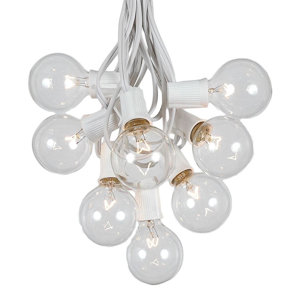 G50 Patio String Lights with 125 Clear Globe Bulbs – Outdoor String Lights – Market Bistro Café Hanging String Lights – Patio Garden Umbrella Globe Lights - White Wire - 100 Feet