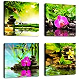 Green Canvas Wall Art Zen Canvas Prints Spa Wall Decor 4 Pieces Modern Canvas Artwork Pictures Framed Ready to Hang - Spa Massage Treatment Red Orchid Frangipani Bamboo Waterlily Black Stone in Garden