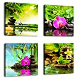 Canvas Prints Zen Art Wall Decor – Spa Massage Treatment Painting Picture Print on Canvas Framed Ready to Hang – Red Orchid Frangipani Bamboo Waterlily Black Stone in Garden – 4 Panel Giclee Art Work Picture