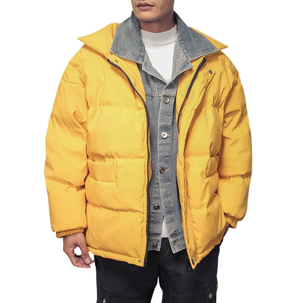 wuliLINL Men's Winter Quilted Puffer Bomber Jacket Hickened Cowboy Fake Two Cotton Coat(Yellow,XXXL) by wuliLINL