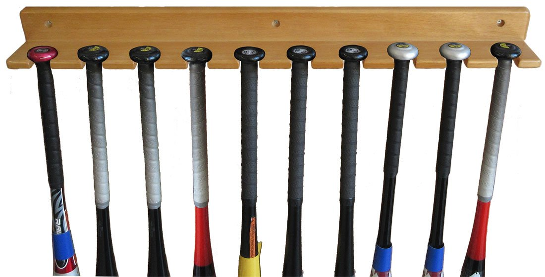 Baseball Bat Display Rack Wall Hanger, Holds 10 Bats, Solid Wood (Oak Finish) by DisplayGifts