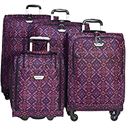 "Ricardo Annadel 4 Piece Luggage Set: 28"", 24"", 20"", and Under Seat Bag (Tribal Magenta)"