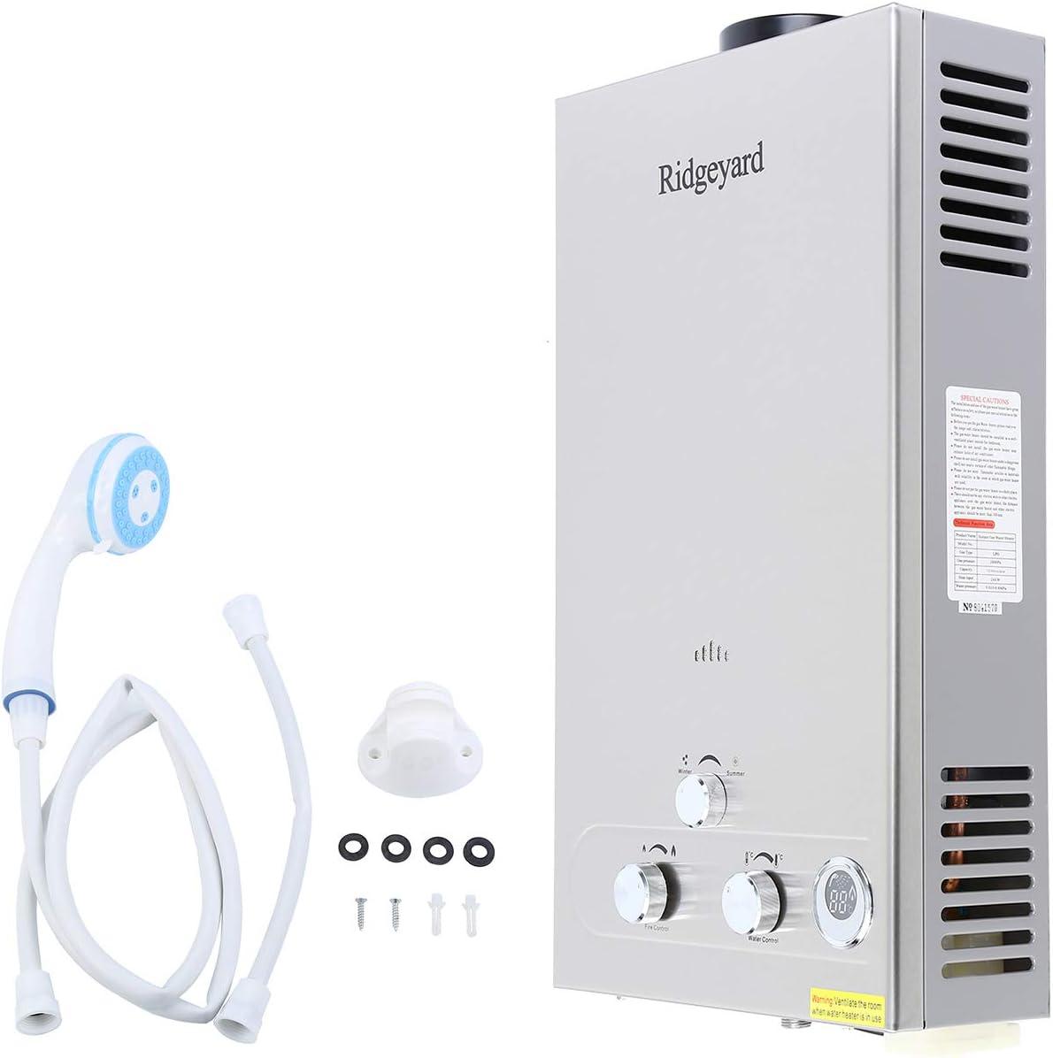 Ridgeyard Calefactor del Agua de la Ducha de Propano y Gas con Pantalla Digital de la Caldera y sin Tanque 12L/minuto 24kW (60C temperatura del agua) - incluye 5 m manguera de alta resistencia, pistol