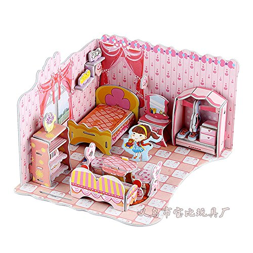 Big four piece 3d puzzle paper castle hut building puzzle children's educational toys diy manual spell plug bedroom for $<!--$15.99-->