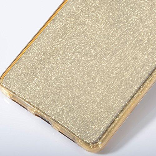 Vandot 1x Exclusivo Airbag luminosa Ultra Slim delgada transparente TPU prueba de golpes Delgado para Huawei P8Lite Soft Gel claro silicona caso protector piel cubierta caja del teléfono con anti Caso Bling Gold