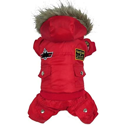 Warm winter dog Coat Jacket USA AIR FORCE waterproof pet hoody clothes,Red-M