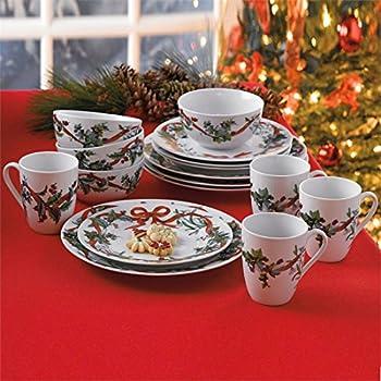 Brylanehome 16-Pc. Christmas Dinnerware Set (White0) & Amazon.com | Lenox Winter Meadow 12 Piece Dinnerware Set: Dinnerware ...