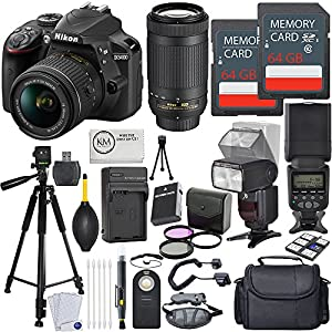 Nikon D3400 DSLR Camera w/ 18-55 and 70-300mm Lenses + 2 x 64GB Card + Deluxe Flash Bundle