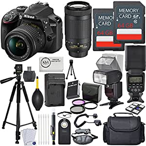 Nikon D3400 DSLR Camera w/ 18-55 and 70-300mm Lenses + 2 x 64GB Card + Deluxe Flash Bundle