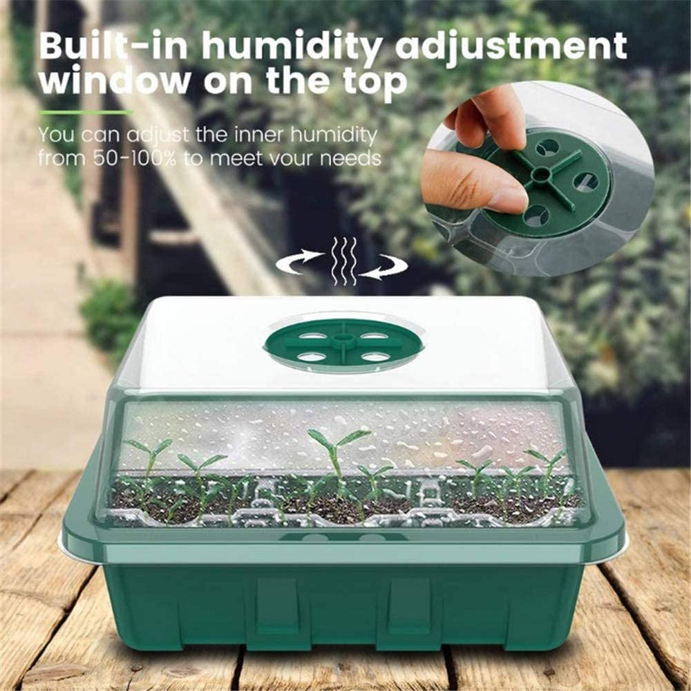 3 Pack Seed Propagator Trays 2-Cell Plant Germination Kit with Adjustable Vents Mini Propagator Grower Nursery Tray for Seeds Growing Plant Starter Seedling Starter Tray