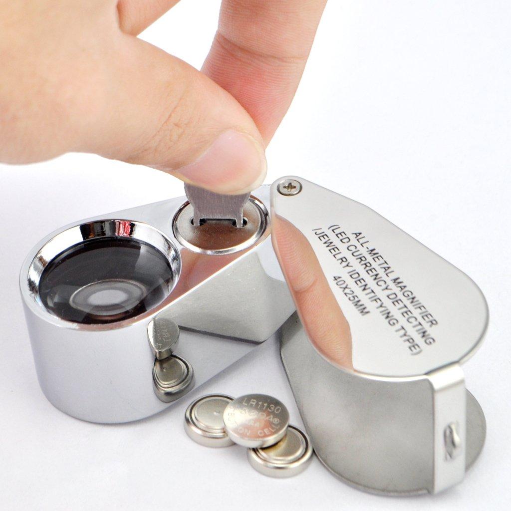 40 x 25 mm iKKEGOL Lente di ingrandimento da gioielliere con lente LED UV