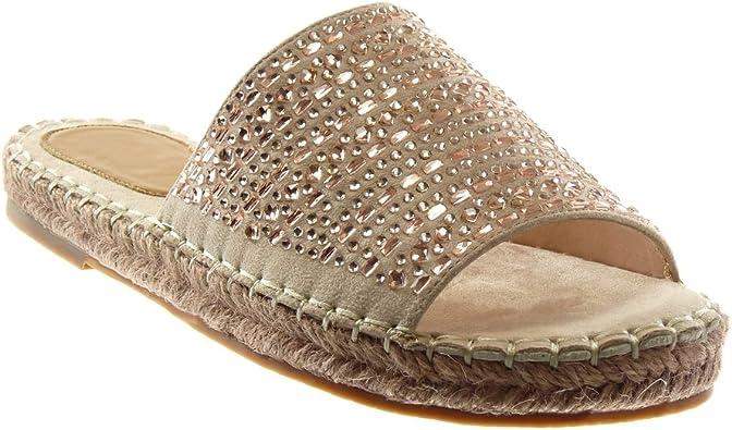 Angkorly Chaussure Mode Sandale Mule Slip on Femme Strass Corde Finition surpiqûres Coutures Talon Bloc 2.5 CM