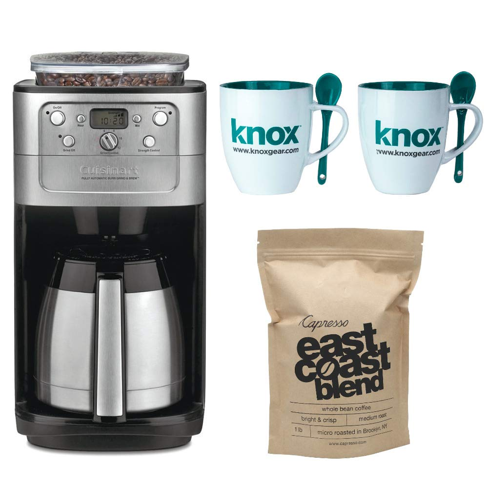 Cuisinart DGB-900BC Grind & Brew Thermal 12-Cup Automatic Coffeemaker Includes Set of Two Mugs with Spoons and Capresso East Coast Blend Whole Bean Coffee (Certified Refurbished)