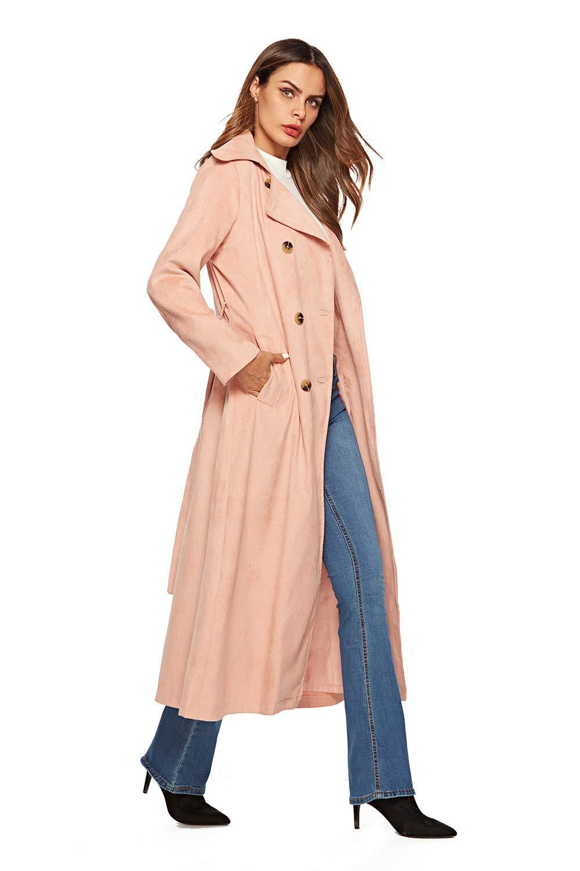 Women Tops Jacket Parka Long Coat Cardigan Casual Fashion Holiday Warm Faux Fur Windbreaker Pink