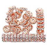 jennysun2010 Czech Crystal Rhinestone 18K Rose Gold Plated 10mm Clear Round Rondelle Wavy Edge Spacer Beads 100pcs per Bag for Bracelet Necklace Earrings Jewelry Making Crafts Design
