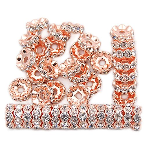 jennysun2010 Czech Crystal Rhinestone 18K Rose Gold Plated 8mm Clear Round Rondelle Wavy Edge Spacer Beads 100pcs per Bag for Bracelet Necklace Earrings Jewelry Making Crafts -