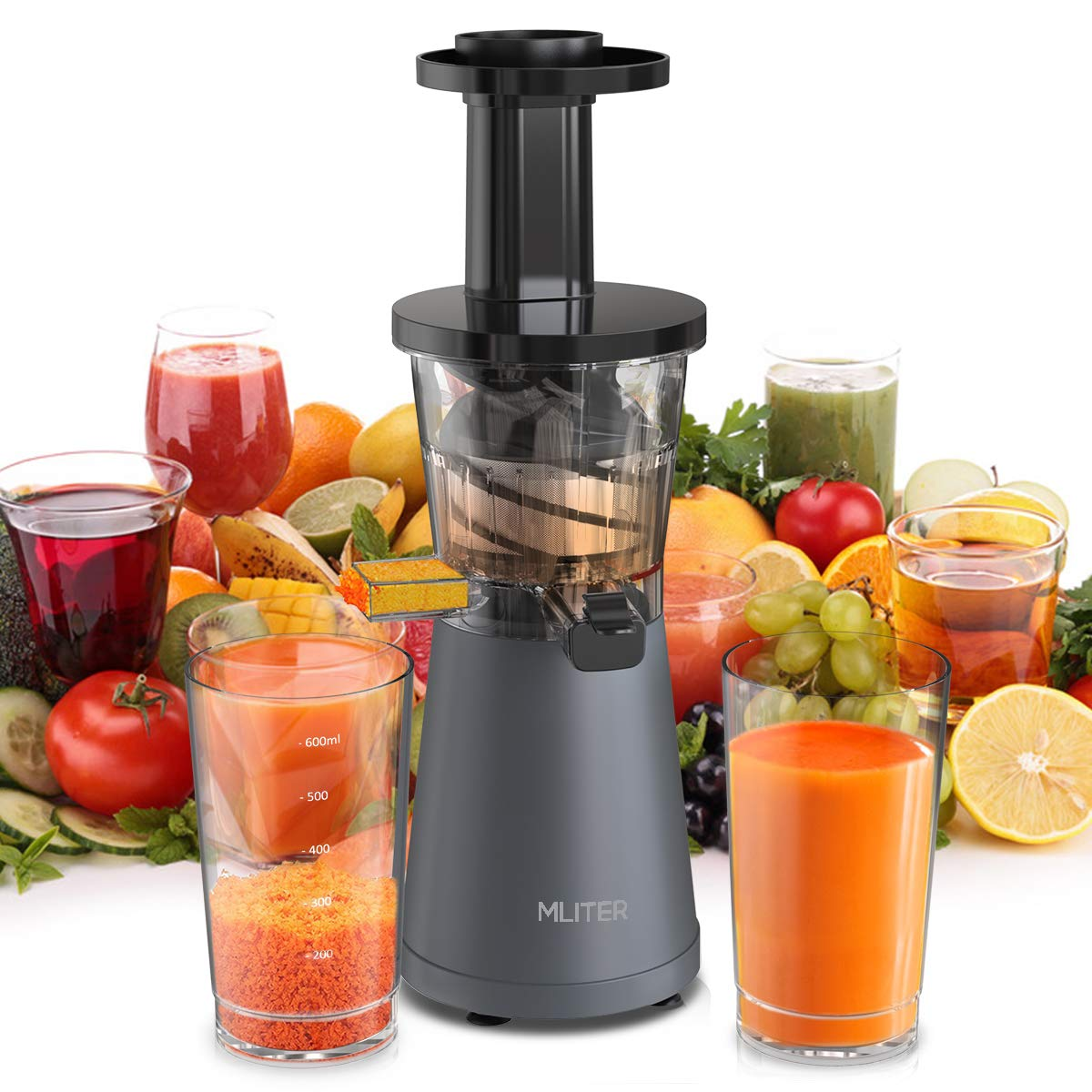 Mliter Slow Masticating Juicer, 200W Cold Press Juicer / Juice Extractor - Low Noise, High Nutrient & Anti-Oxidation, with Cleaning Brush, Two Containers for High Nutrient Fruit and Vegetable Juice, Frozen Desserts