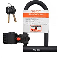 nean Candado para bicicleta con soporte y 2 llaves de seguridad, diámetro de 12 mm, 207 x 138 mm, color negro