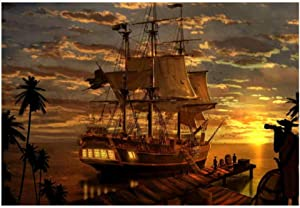 YUANOMWJ Canvas Print Painting,Fantasy Pirate Pirate Ship Boa Animal,Printed for Living Room Wall Decor Modern Home Decorative Pictures Abstract Canvas Poster Painting Frameless,30X50Cm(12X20Inch)