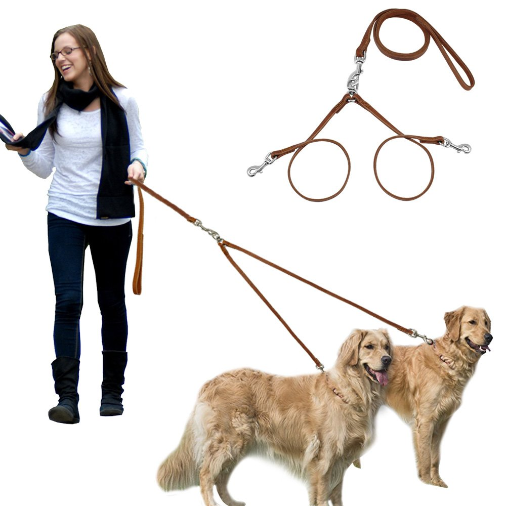 PET ARTIST No Tangle Dog Leash 2 Way for Large & Medium Dogs Soft Genuine Leater Lead-Tangle Free Dog Splitter-Brown 6 feet Length by PET ARTIST