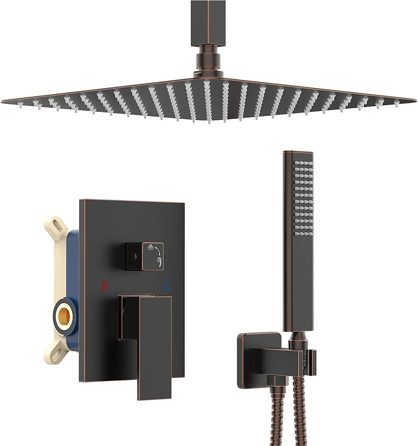 IRIBER Oil Rubbed Bronze Ceiling Mount Rain Shower System with 12 Inch Shower Head and Handheld Bathroom Square Shower Faucet Set Contain Shower Mixer and Trim Kit (Valve Included)