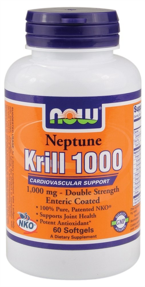 NOW Foods - Neptune Krill 1000 Cardiovascular Support Enteric Coated Double Strength 1000 mg. - 60 Softgels ( Multi-Pack)