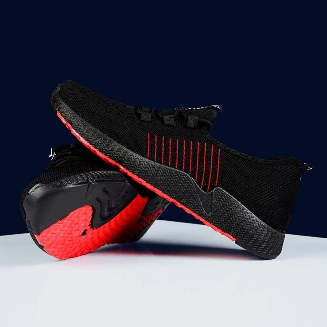 LuckyGirls Hommes Chaussures de Course Respirant L/éger Maille Chaussures de Sport Baskets de Sport Chaussures de Marche Antichoc Noir Rouge 39-44 。◕‿◕。 Meilleure Vente