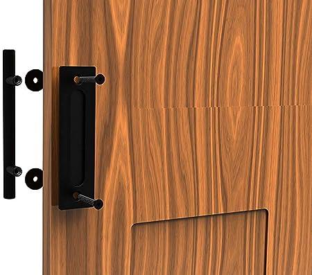 CCJH 24cm Aluminio Puerta Corredera Manija De La Puerta Tirador De La Manija Al Ras Hardware Para Puertas Corredizas De Granero Negro: Amazon.es: Bricolaje y herramientas