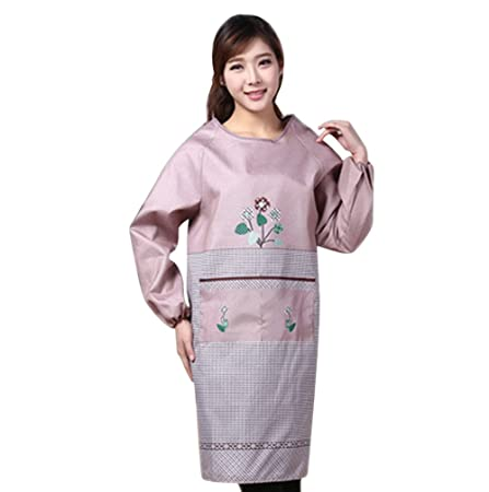 45d8ec410f5 Moolecole Adult Protective Clothing Long-sleeved Smock Kitchen Aprons Adult Clothing  Anti-oil Overalls  Amazon.co.uk  Kitchen   Home