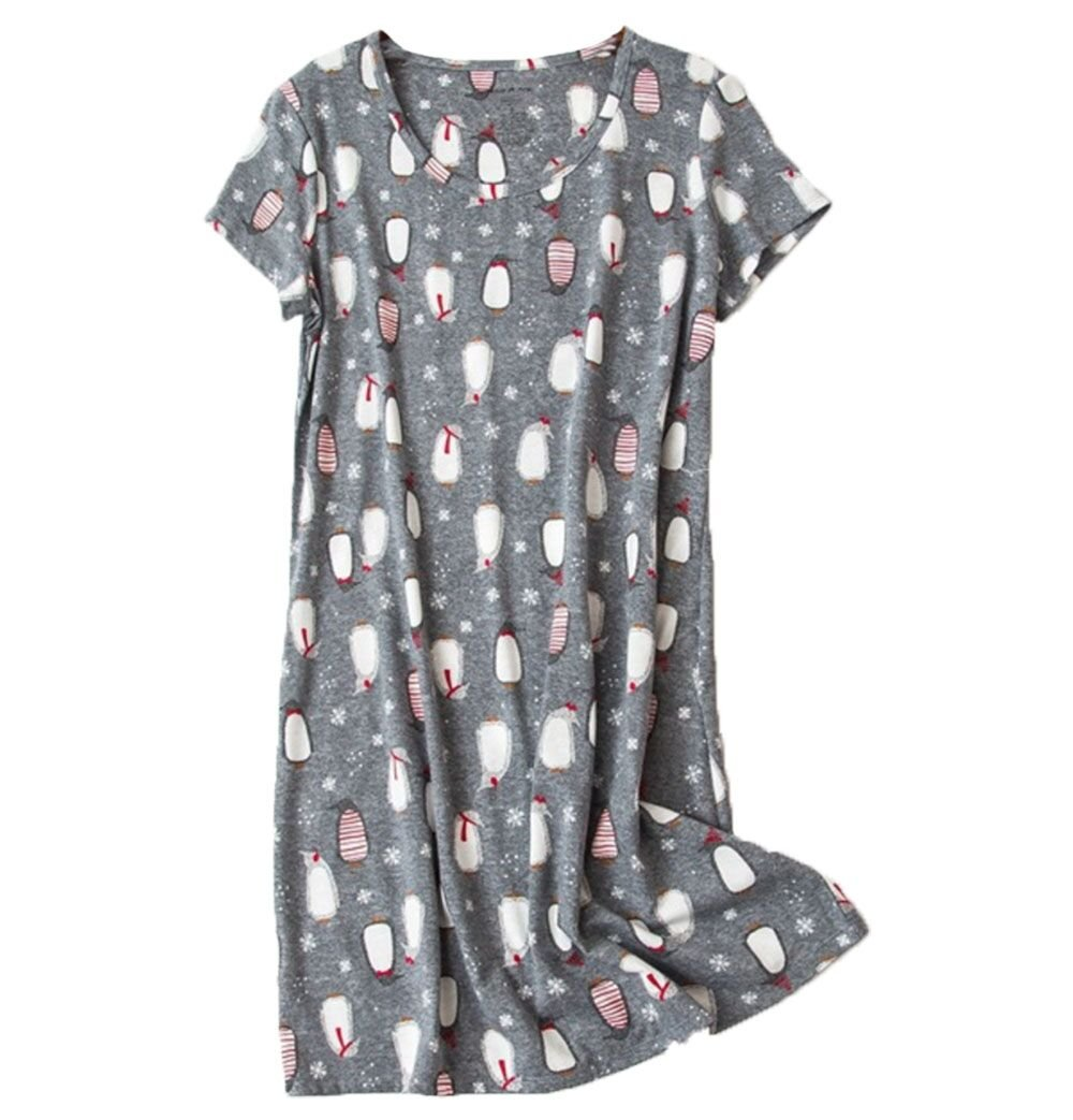 Amoy madrola Women's Cotton Blend Floral Nightgown Casual Nights XTSY108-Penguin-S by Amoy-Baby (Image #1)