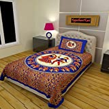 RajasthaniKart Classic 144 TC Cotton Single Bedsheet with Pillow Cover - Abstract, Blue