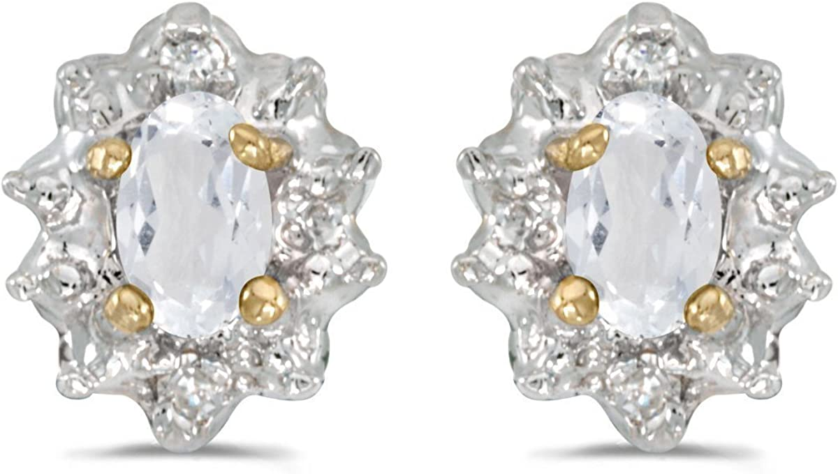 FB Jewels Solid 10k Yellow Gold Studs Oval Gemstone And Diamond Earrings